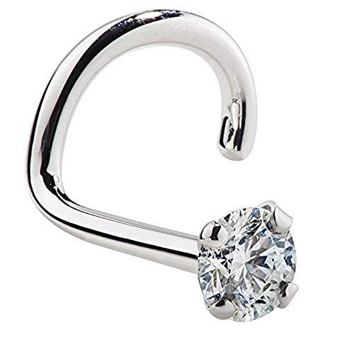 FreshTrends 1.5mm 0.015 ct. tw Diamond 14K White Gold Nose Ring Twist Screw 20G