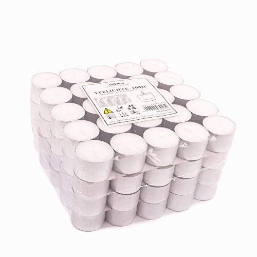 Pajoma Tea Lights Unscented White Pack of 100 Burn Time 8 Hours