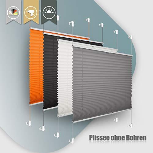 Plisseerollo ohne Bohren klemmfix Jalousie Sonnenschutz Easyfix Faltrollo Lichtdurchlässig Rollo für Fenster Tür Anthrazit 55x100cm(BXH)