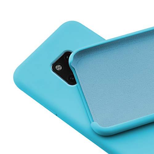 N NEWTOP Custodia Cover Compatibile per Huawei Mate 20 PRO, Ori Case Guscio TPU Silicone Semi Rigido Colori Microfibra Interna Morbida (Azzurra)