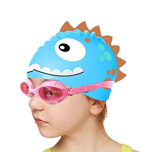 Firesara Kids Swim Cap, Fun Silicone Swimming Hats for Boys and Girls Waterproof Bathing Cap for Children with Cute Cartoon Design Safe Meterial Swim Hat for Kids Long Hair(Blue)