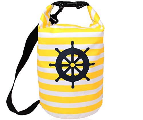 XENOBAG Dry Bag 8l / Wasserfeste Tasche / Strand Rucksack mit maritimem Muster / wasserdichter Beutel (drybag) mit verstellbarem Schultergurt (8 Liter, weiß/gelb Steuerrad)