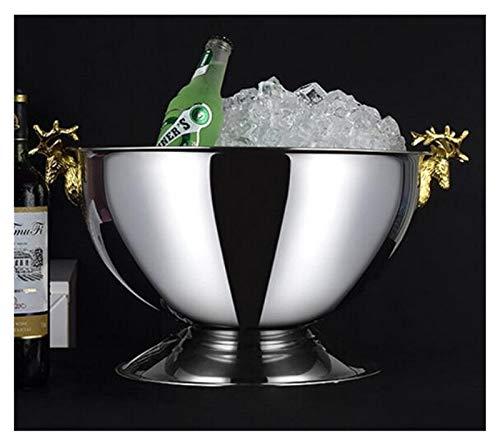 GUANGHEYUAN-J Portaghiaccio Grande Secchio Champagne refrigerato casa Europea Cervo Testa Champagne campagno a Secchiello Bar Raffredda Bottiglie (Color : Golden Deer Head)
