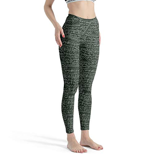 Zhcon Women's Composantes-Maths Thema Yoga Broek Skinny Fitness Broek Mid-taille Krijtbord Yoga Capris Tall-Petite