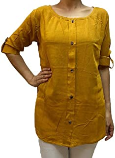 Veronica Long Sleeve Ladies Blouse round mustard yellow