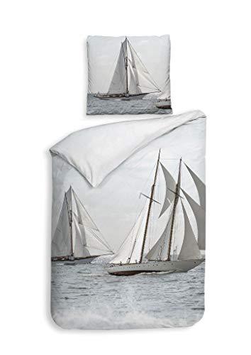 Heckett & Lane GOTS Satin Bettwäsche 155x220 Rivas Wavy Blue Meer Segelboote