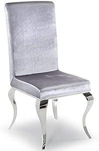 Lewis - Juego de 2 sillas de comedor modernas de cromo pulido de alta calidad Silver Velvet