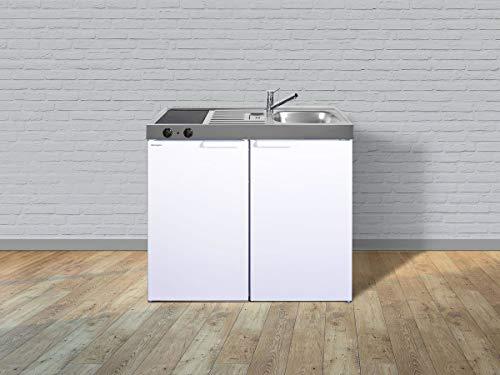 Stengel Miniküche Kitchenline MK 100 kleine Küchenzeile mit Kühlschrank und Kochfeld, Pantryküche, Kompaktküche - Farbe: weiß/Breite: 100cm