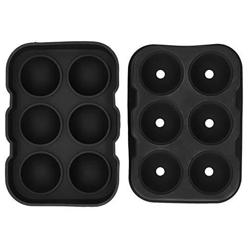 Molde de Cubitos de Hielo de 6 cavidades DIY Molde para Hacer Bolas de Hielo Bandeja de moldes Contenedor para el hogar Bar Fiesta Cóctel Uso Negro