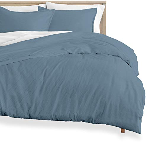 Bare Home Washed Duvet Cover and Sham Set - Oversized Queen - Premium 1800 Ultra-Soft Brushed Microfiber - Hypoallergenic, Easy Care, Stain Resistant (Oversized Queen, Sandwashed Blue Sea)