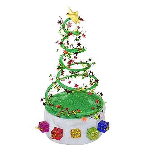 Oksea Glitzer Weihnachtsmütze Weihnachtsbaum und Rentier Geweih Haarreif Weihnachten Haarschmuck Kopfschmuck Kopfbedeckung Kinder Erwachsene Party Kostüm Zubehör Party Santa Kostüm (Mehrfarbig)