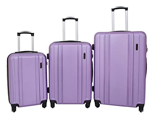 Durable 4 Wheel Suitcases Lightweight Hard Shell Luggage Built-in Lock Travel Bags HLG770 Purple (Full Set Small+Medium+Large)