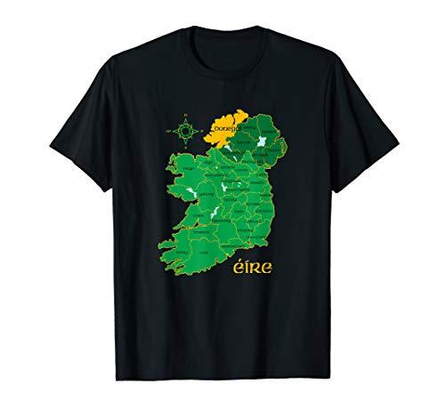 Donegal Ireland T Shirt Irish County Map Eire Irish Travel