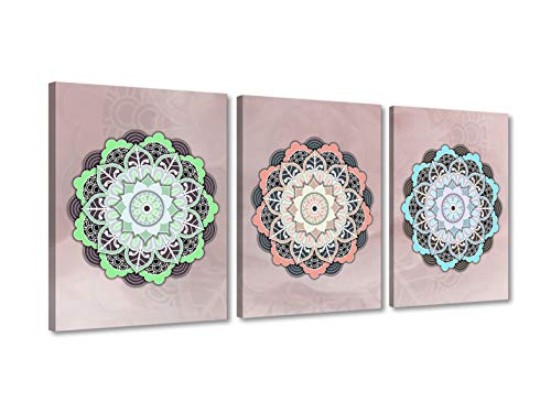 Foto Canvas Cuadros de Mandalas para La Pared | Lienzos Decorativos - Decoración Pared - Cuadros de Salón | Mandala Pared 30 x 40 cm x 3 Piezas sobre Bastidor de Madera Listos para Colgar