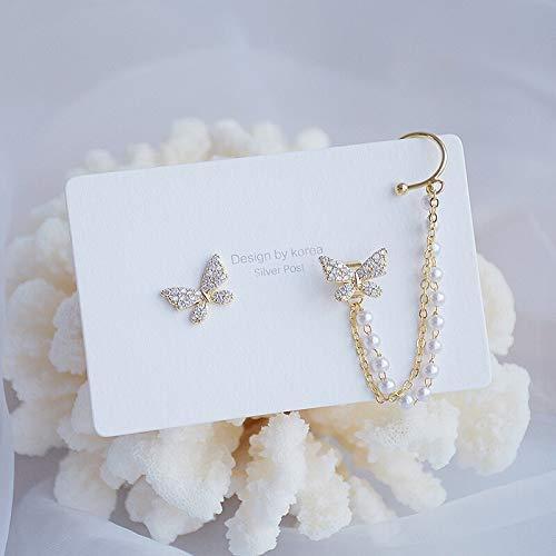 Exquisito amor romántico perla mariposa, pendientes largos, accesorios para mujer, joyería (color metal: mariposa chapado en oro)