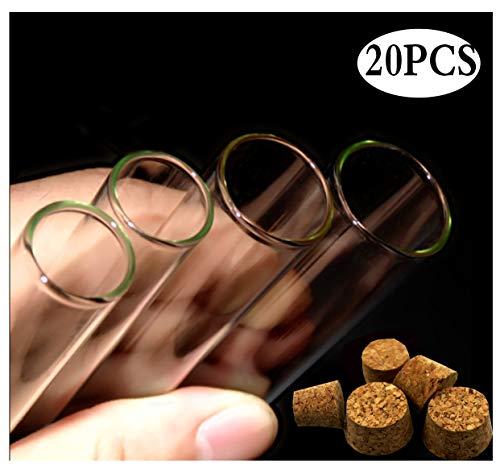 Kunststof reageerbuizen met natuurlijke kurk, 12 ml, transparant, reageerbuizen om te knutselen en te decoreren, mini-houders voor vloeistoffen, specerijen, thee, bloemen, snoepjes, bruiloft, 16 x 100, transparant, 1