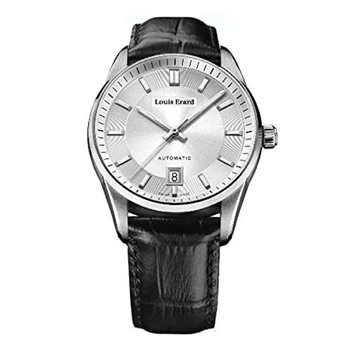 Louis Erard Reloj automático Heritage para hombre, color plateado y piel