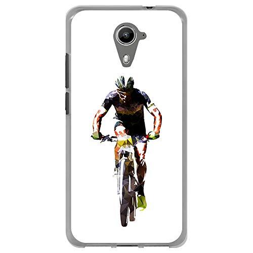 BJJ SHOP Transparent Hülle für [ Wiko U Feel Prime ], Klar Flexible Silikonhülle, Design: Vorderansicht des Radfahrers