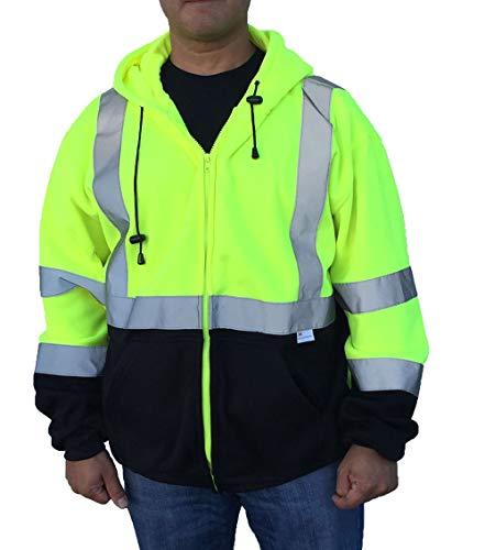3C Products SAJ6700, ANSI/ISEA Class 3, Men's Safety Fleece Hoodie Jacket, Reflective, Pockets, Neon Green w/Black Bottom,XL