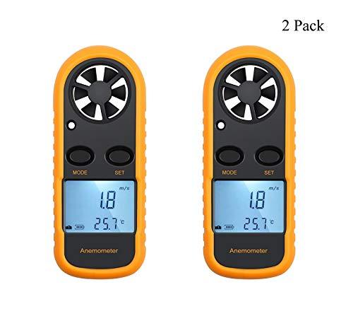 QKa Windmesser, tragbare Windmesser Handheld Windgeschwindigkeitsmesser Luftstromthermometer mit LCD-Hintergrundbeleuchtung zum Windsurfen, Kitesurfen, Segeln, Surfen, Angeln,2Pack