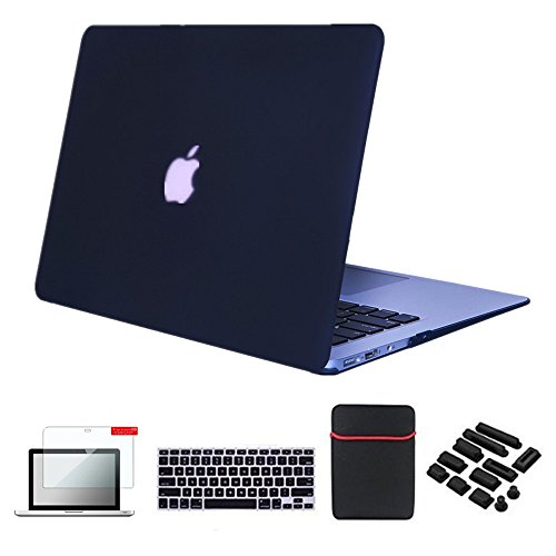 Se7enline Macbook Air Case Cover [5 in 1 Bundle] Multi colors Soft-Touch Plastic Hard Case Cover for Macbook Air 11.6' (Models: A1370, A1465),with Soft Sleeve Bag and Silicon Keyboard Protector and Clear LCD Screen Protector and 12pcs Dust plug, Black