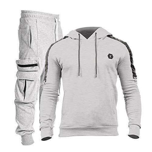 theshyer Moda masculina de invierno, deportes y ocio, monos multibolsillos, jersey, suéter con capucha, traje