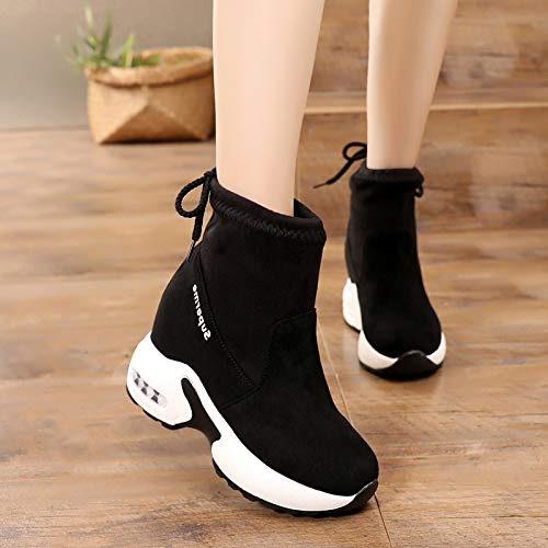 Shukun Bottes Bottes augmentées en Hiver, Bottes épaisses pour Femmes, Hiver 8 cm Chaussures pour Femmes