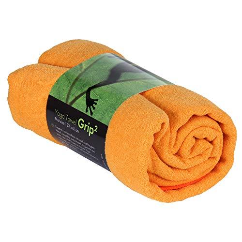 GRIP2 Yoga Towel, Yoga-Handtuch mit Antirutsch-Noppen, rutschfest, Mikrofaser-Yogatuch, sehr gut für Hot Yoga (safran-gelb), Yogamattenauflage, antibakteriell