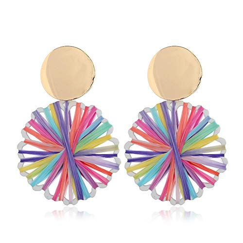 Wicemoon DIY Accessories Hand-Woven Colorful Earrings Elegant Jewelry for Party Meeting Dating Wedding Daily Wear (deep Color)