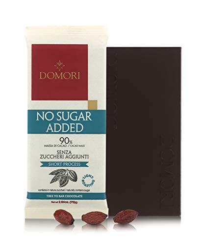 Domori Lot de 12 Tablettes de Chocolat Noir 90% Cacao - sans Sucre - 12 x 75 Grammes