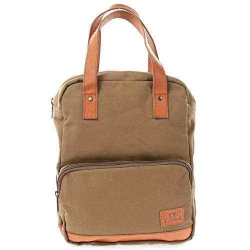 LECONI kleiner Rucksack für Damen & Herren & Teenager Vintage-Style Retro Mini Freizeitrucksack backpack Wanderrucksack aus Leder & Canvas 29x25x13cm oliv LE1028-C