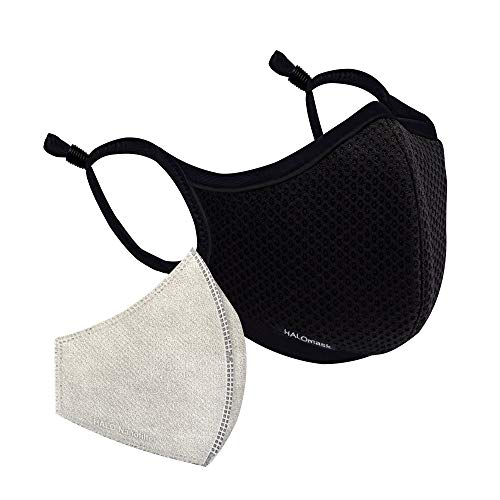 Halo Life Face Mask - Reusable/Washable with Replaceable Nanofiber Filter - Lightweight Ultra-Breathable, Specific Sizes, Adjustable to fit for Women/Men/Children- 200 Hour Filter Life - Black