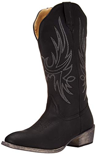 Women's Western Black Cowboy Boot Cimmaron Country Round Toe by Silver Canyon