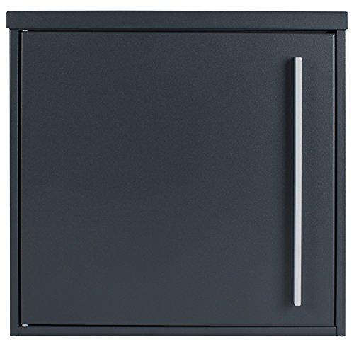 Moderner Briefkasten anthrazit-grau (RAL 7016) MOCAVI Box 101 Postkasten wetterfest, rostfrei, deutsche Qualität, Edelstahl-Namensschild, groß, Din A4