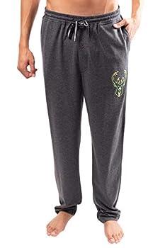 Ultra Game NBA Milwaukee Bucks Mens Sleepwear Super Soft Pajama Loungewear Pants Heather Gray Large