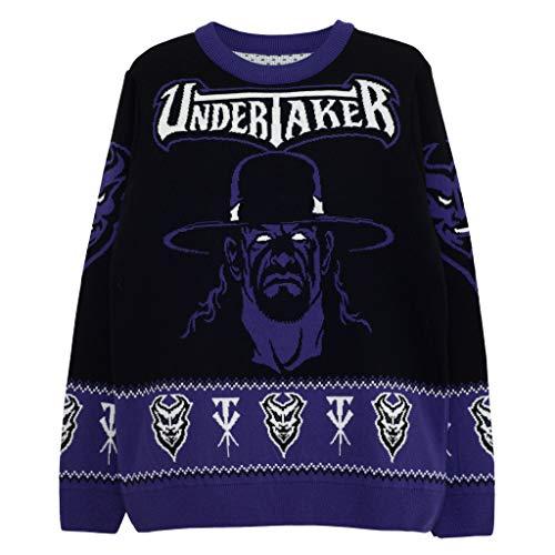 WWE enterrador Puente de Punto para Hombres Negro 2XL | Puente de Navidad Feo de Lucha del suéter Fair Isle de Navidad Ideas de Regalos para Hombre Ropa