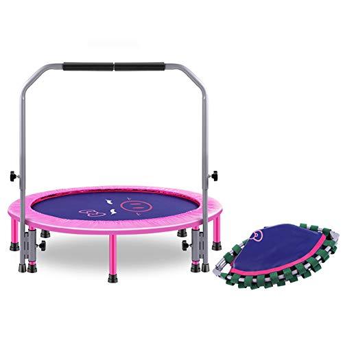 YSHCA 40 Pulgadas Trampolín Fitness, Plegable Cama Elástica con Manija De Soporte Ajustable y suspensión con Cuerdas de Goma Mini Trampolín para jardín y Uso doméstico,Pink