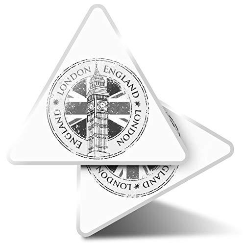 2 pegatinas triangulares de 7,5 cm - BW - Londres Inglaterra Reino Unido Big Ben Union Jack Fun Calcomanías para ordenadores portátiles, tabletas, equipajes, reservas de chatarra, neveras #40490