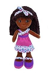 small girlzndollz 600579 Elana Purple Frilled Soft Doll, 14inch, Pink, Purple
