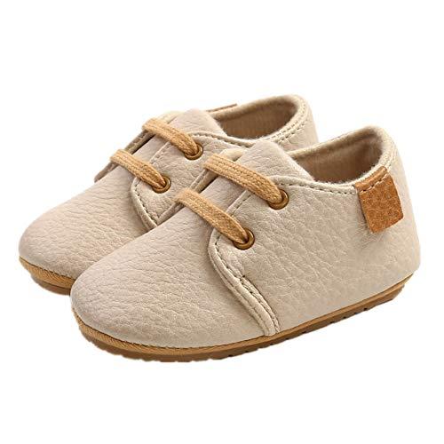 Auxm Zapatos para bebé de 0 a 18 meses, zapatos para niños y niñas, zapatos para aprender a andar, con cordones, color Beige, talla 20 EU