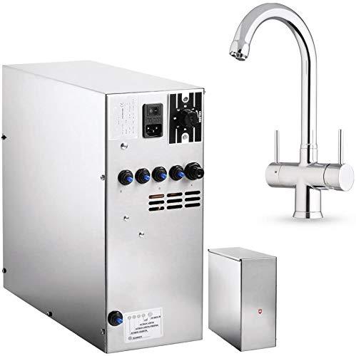 Untertisch-Trinkwassersystem SPRUDELUX INOX ohne Filtereinheit inklusive 5-Wege-Armatur NOBIUS C-Auslauf Chrom. Profi-Wassersprudler für den Privathaushalt. Spritziges Mineralwasser/Sprudelwasser