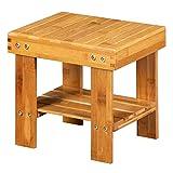 Kcelarec Bamboo Small Seat Stool for Kids, Foot Rest Shaving Stool,Storage Shelf, for Home, Bathroom,Bedside (Wood Color)