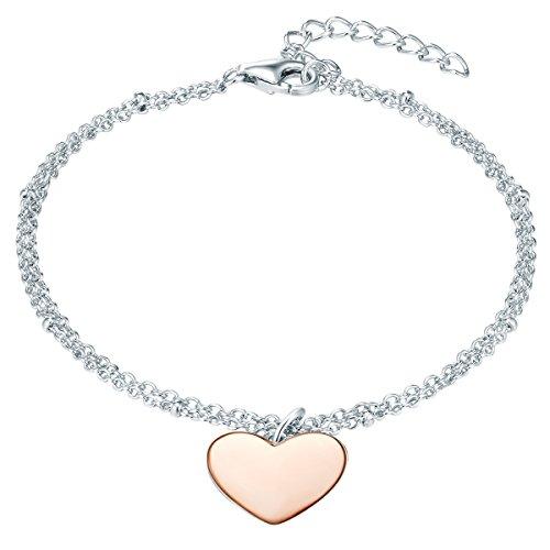 Rafaela Donata Damen-Armband mit Herz-Anhänger Sterling Silber Bicolor rosévergoldet - Armkette mit Anhänger Herzen in Rosegold-Farben