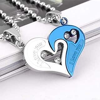 Coppia collane cuore spezzato chiave 2pz 2 divisibile mezzo lui lei yin yang