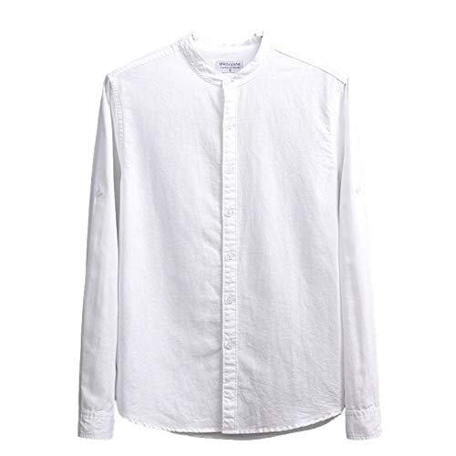 Camisa de Cuello Alto para Hombre Camisa de Manga Larga básica clásica de Color sólido Camisa Salvaje Informal cómoda y Transpirable Small