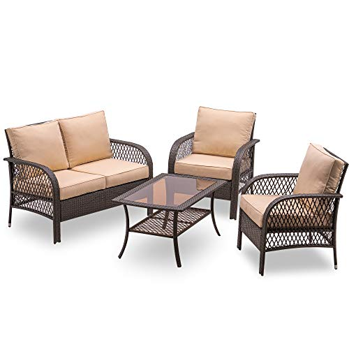 MCombo Outdoor Patio Wicker Furniture Set 4 Pieces Wicker Cushioned Set, Rattan Chair with Tempered Glass Porch Deck, Lawn and Balcony, 6082-9588 (Beige Cushion)