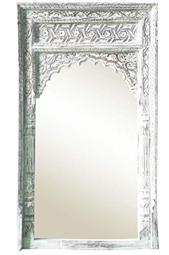 Espejo de pared oriental Inara 122 cm, grande, color blanco, gran espejo de pasillo marroquí con marco de madera adornado oriental, espejo de baño sin iluminación como decoración oriental