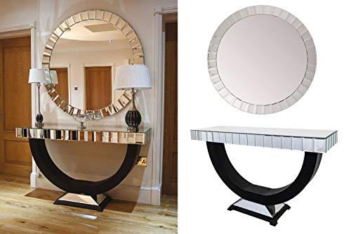 Chemy verspiegeltes Konsolentisch und Spiegel-Set – Dielentisch – Flurtisch – runder Spiegel – Wanddekoration – Wohnzimmermöbel – Spiegelmöbel.