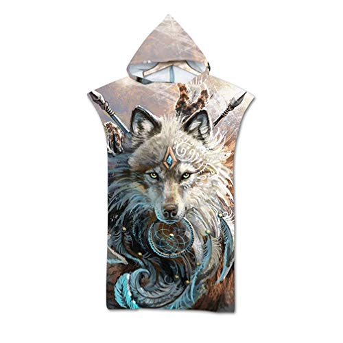 Beach Towel Adult Robe Towel Poncho 3D Animal Owl Turtle Wolf Hooded Blanket for Surfing Swimming Wetsuit Changing Light Weight, Swimming Towel (Wolf)