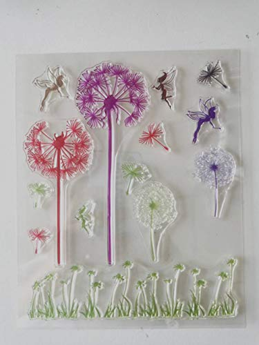 MaGuo Dandelion Clear Stamps Flower Fairy Rubber Stamps for Card Making Decoration and DIY Scrapbooking
